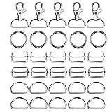 Fvcent, 40 anelli a D scorrevoli per cintura, regolabili, girevoli, per borse fai da te, borse, zaini, accessori