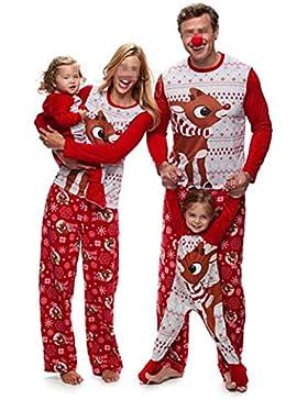 CHRONSTYLE Pijamas Dos Piezas Familiares de Navidad, Conjuntos Navideños de Algodón para Mujeres Hombres Niño...