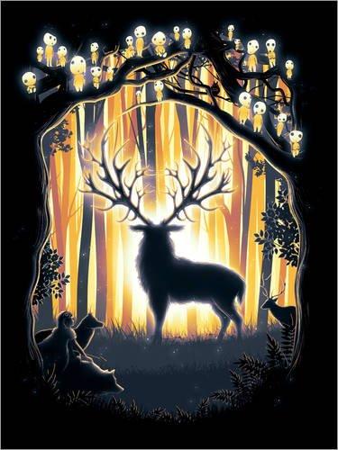 Poster 30 x 40 cm: Der Gott des Waldes von Barrett Biggers - Hochwertiger Kunstdruck, Kunstposter