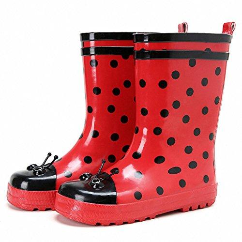 Marienkäfer-Cartoon-Mädchen Kinder Stiefel wasserdichten rutschfeste Stiefel Wasserschuh Mädchen Frühling und Sommer in Gummistiefeln Rohr , (Marienkäfer Schuhe Kind)
