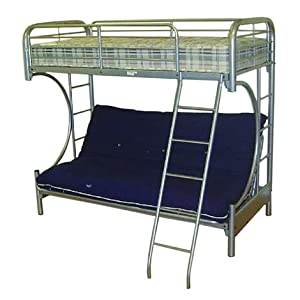 Cynthia Curved Silver Futon Bunk Bed - Single Over Futon Bunk Bed - Metal Bunk Bed for Kids