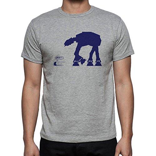 Robot Metal Cyborg Cartoon Star Wars Dark Blue Edition Herren T-Shirt Grau