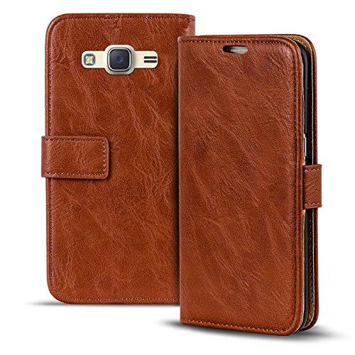 Verco Galaxy J1 (2016) Hülle, Premium Handy Schutzhülle für Samsung Galaxy J1 Hülle PU Leder Wallet Tasche Retro Flipcase, Braun