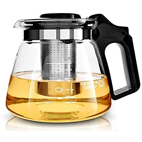 Teekanne Glas mit Herausnehmbarem Edelstahlsieb XAGOO 1100 (Grande Cina Tazza Di Caffè)
