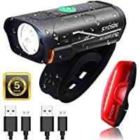 SUPERSTA USB Rechargeable Bike Light Set 600 High lumen Front and Rear Bicycle Safety Lights Super Bright LED Headlight and Tail Light Waterproof Flashlight for Night Rider (BIKELIGHT)