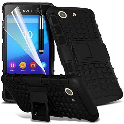 Fall für <b>      Sony Xperia M5 hülle     </b>     Case Universal Car Phone Halter Halterung Armaturenbrett und Windschutzscheibe für iPhone y i -Tronixs Shock proof + Pen (Black)