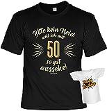 Geburtstag T-Shirt 50 Jahre - Bitte kein Neid Shirt 4 Heroes bedruckt Geschenk-Set mit Mini Flaschenshirt