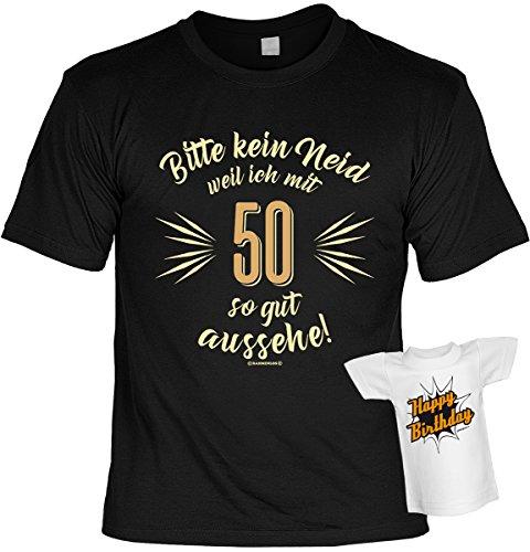 T-Shirt zum Geburtstag - Bitte kein Neid weil ich mit 50 so gut aussehe! - 50. Geburtstag - Im SET mit gratis Mini Shirt - Geschenk - schwarz