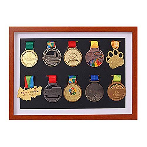 J&X Vitrinenschrank Shadow Box für Militärmedaillen/Sammler Medaille/Anstecknadel Vitrinenhalter Vitrinenschrank Shadow Box/Case Vitrinenschrank Box für Militärmedaillen Pins Aufnäher Abzeichen (Bilderrahmen Marathon)