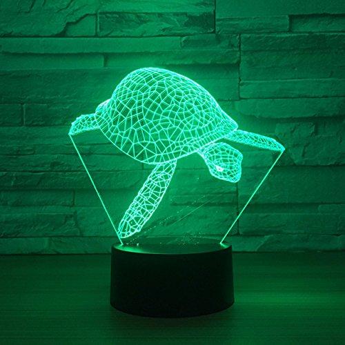 Jinson well 3D schildkröte Lampe optische Illusion Nachtlicht, 7 Farbwechsel Touch Switch Tisch Schreibtisch Dekoration Lampen perfekte Weihnachtsgeschenk mit Acryl Flat ABS Base USB Kabel kreatives Spielzeug