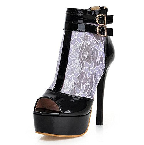Frauen Open Toe Knöchelriemen Pump Gürtelschnalle Net Garn Sandalen Hollow Large Size Schuhe 40-43 Purple