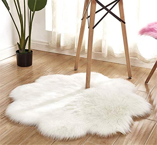 Faux Pelzteppich Weicher, flauschiger Teppich (60 x 60 cm) Shaggy Teppiche Faux Schaffell Teppiche Bodenteppich für Schlafzimmer Wohnzimmer Kinderzimmer Dekor Blume Form Teppich (Weiß, 60x60 CM) (Elfenbein Faux Griff)