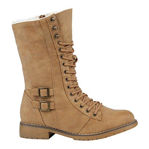 Warm Gefütterte Damen Schnürstiefeletten Schnallen Stiefelette Profilsohle Schuhe 125430 Hellbraun Braun 36 Flandell