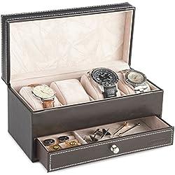 VonHaus Schwarze Uhren- und Manschettenknopf Kunstlederbox für 4 Uhren und Schmuck