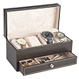VonHaus 4 Watch and Cufflink Display Box with Drawer | Brown Faux Leather
