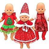 Miunana 3 Abiti Vestiti di Babbo Natale per 36 CM - 42 CM (14 Pollici - 16 Pollici) Baby Dolls Bambola Bambolotto