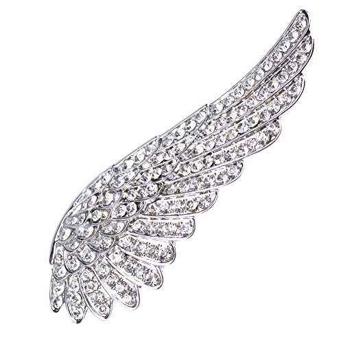 V-EWIGE Lovely Full Crystal Angle Wing Brooch Pin for Women Pure Color