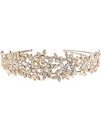 TENYE - Diadema para mujer, diseño de flores de cristal austriaco, color dorado claro