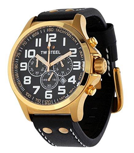 TW Steel Pilot - Reloj de cuarzo para mujer, con correa de cuero, color negro