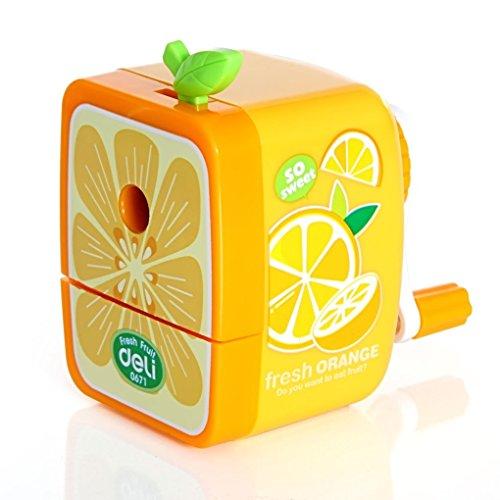 BXT Anspitzer mit Kurbel Handbuch Modus Spitzer Lehrbuch Lieferungen für Kinder Geschenk Form Auto für Mädchen Jungen Spitzer Wunderschöne und charmante Orange Jaune