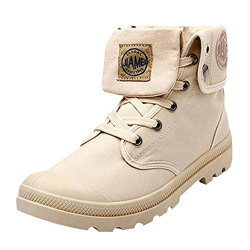 Stiefel für Männer - Herren Runder Kopf Boots Outdoor Stiefeletten Worker Boots Combat Boots Khaki Schwarz Grau