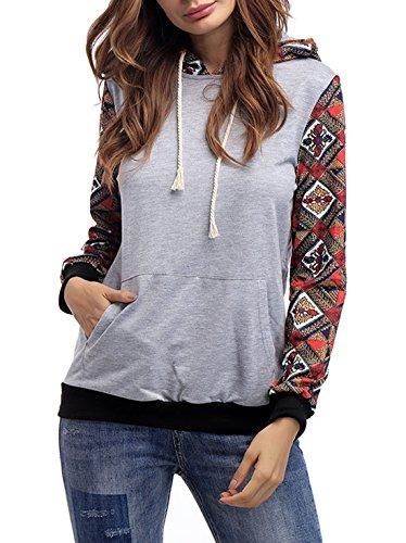 Femme Automne Encapuchonné Sweatshirt Décontractée Mode Sweats à Capuche à Manches Longues Sportswear Hooded Chemisiers Tops Gris