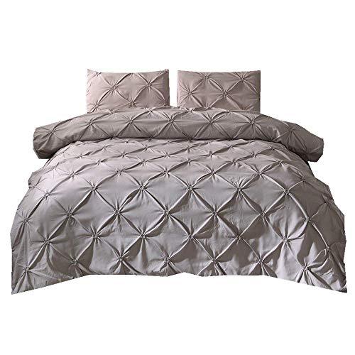 Sticker superb Pintuck Diamant Bettwäsche Set mit Kissenbezug, Wohnheim Leben Zimmer Bettbezug Set Mikrofaser Polyester (Grau, 220x240cm) (Luxus Bettwäsche-set Sterne)