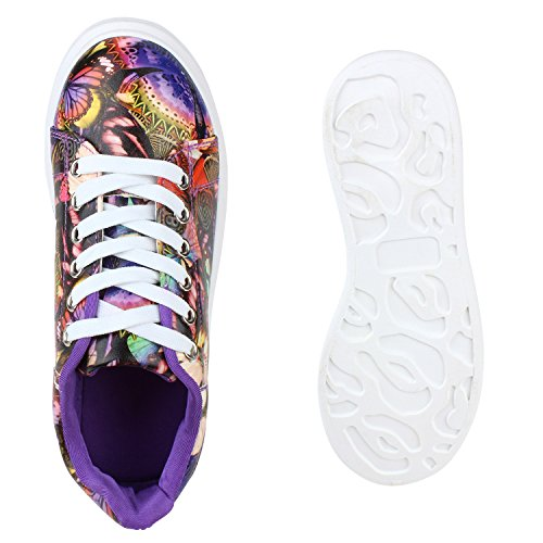 Damen Sneakers Low Bunte Prints Plateau Turnschuhe Freizeit Lila