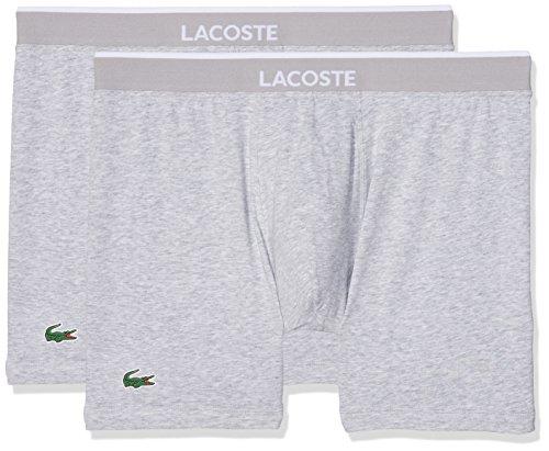 Lacoste Underwear Herren Boxershorts Boxer Brief (DPK) 150958, 2er Pack, Gr. Large, Grau (Grau-Mel. 202) (Briefs Boxer Grau)
