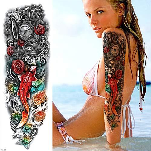 �rmel Muster Tattoos Oversleeve große Tätowierung Langarm Tattoo für Frau Halloween Körper Aufkleber Mädchen 3Pcs ()