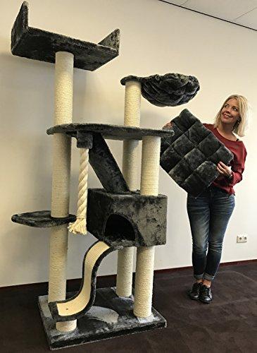 RHRQuality Kratzbaum Grosse Katzen stabil XXL Kilimandjaro Dunkel Grau Katzenkratzbaum für schwere Katze hoch