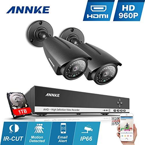ANNKE-Kit-de-2-Cmaras-de-Vigilancia-Seguridad-H264-4CH-AHD-NVR-P2P-IR-Cut-IP66-Impermeable-Versin-Nocturna-100pies30-Metros-36MM-42-Leds-1TB-Disco-Duro