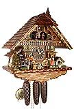 Kuckucksuhr Original Schwarzwälder Kuckuckuhr Echtholz mechanisches 8-Tage Laufwerk Musik NEU VDS Zertifikat Hönes -Schwarzwaldhaus 46cm- 8621T