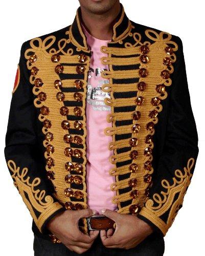 HLS Michael Jackson Golden Hand Arbeit Military Jacke Gr. Medium, schwarz