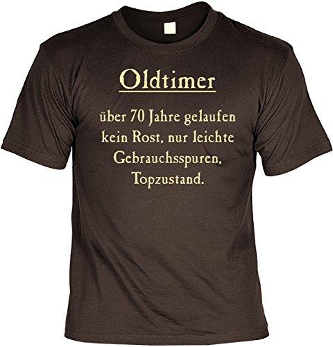 T-Shirt mit Urkunde - Oldtimer - Über 70 Jahre, Kein Rost, Top Zustand - lustiges Sprüche Shirt als Geschenk zum siebzigsten Geburtstag - NEU mit gratis Zertifikat! (Weihnachtsbaum Zustand)