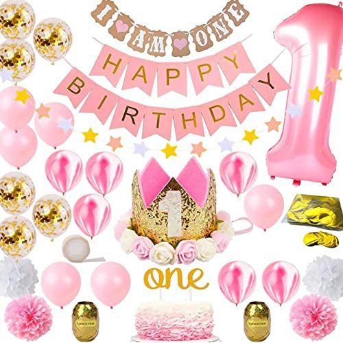 Queta 1. Geburtstag Dekorationen Baby Mädchen ersten Dekor Party Supplies Set, Princess Pink Gold Theme Kit | Happy Birthday Banner, 1. Tiara Kronenhut, EIN Cake Topper, Konfetti-Ballons