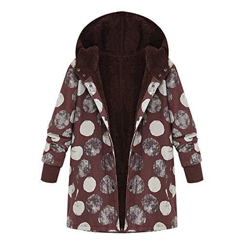 Wollmantel Damen Wolljacke Baumwollmantel Jacken Wintermantel Wool Wesentlich Coat Light Coat Slim Cardigan Frauen Outdoorjacke Outwear Floral Mit Kapuze Taschen Vintage ( Color : Bw1 , Size : 3XL ) Floral Wool Coat