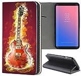 Handyhülle für Samsung Galaxy A3 2016 Premium Smart Einseitig Flipcover Flip Case Hülle Samsung A3 2016 Motiv (1190 Gitarre Rot Lila)