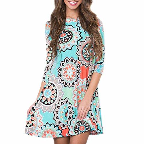 OVERDOSE Damen Sommerkleid Vintage Boho Maxikleid Abendkleid Party Strand Blumenkleid Sundress Minidress Casual Blusenkleid (A-Blau,EU-38/CN-L)