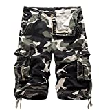 Men's Camouflage Cargo Shorts Summer Fashion Shorts 3 4 Shorts-Light Army-32