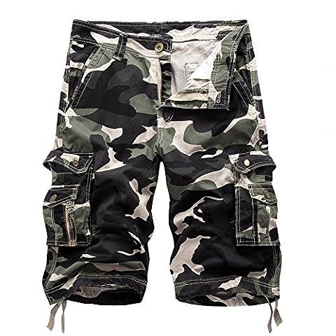 AYG Homme Cargo Short Militaire Camo Shorts 29-40, Vert armée clair, W36(FR 46)/36'Taille