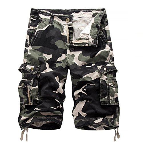 AYG Bermudas Cargo Shorts Hombres Pantalones Cortos Leisure Casual 29-40, A083 light army green, W29(ES 38)/29'Cintura
