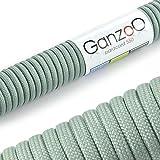 Paracord 550 Seil Silber-Grau | 31 Meter Nylon-Seil mit 7 Kern-Stränge | für Armband | Knüpfen von Hunde-Leine oder Hunde-Halsband zum selber machen | Seil mit 4mm Stärke | Mehrzweck-Seil | Survival-Seil | Parachute Cord belastbar bis 250kg (550lbs) - Marke Ganzoo