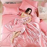 Haihuic Einzelne Größe Seiden-Bettbezug-Sets, Rosa 1 Bettlaken, 1 Bettbezug (150x200 cm) und 2 Kissenbezüge, 4 Stück weiche Satin Bettwäsche-Sets