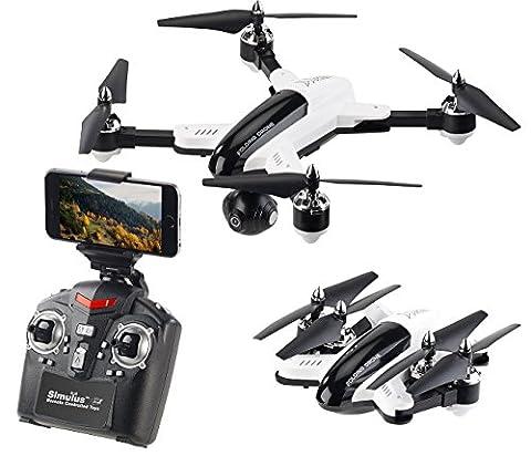 Simulus Drohne: Faltbarer FPV-Quadrocopter m. HD-Cam, WiFi, 2,4-GHz-Fernsteuerung, App (Quadrocopter Android)