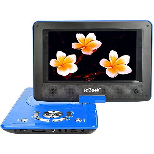 ieGeek Lettore DVD Portatile Display 9 Pollici regolabile, 5 ore Batteria ricaricabile, supporto schedeSD e pennette USB, avvio diretto di MP4/AVI/RMVB/MP3/JPEG, Blu