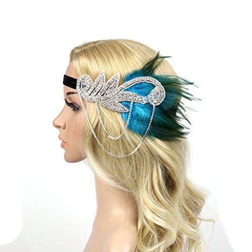 (dressfan Vintage Flapper Kleid Quaste Feder mit kleinen Diamanten Kopfschmuck Stirnband Cocktail Party Pferde Mädchen Frauen bunt)