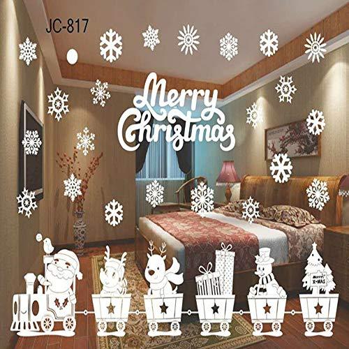 639b4461610e4f Zlulu Sticker Mural De Noël Stickers Muraux Stickers En Verre De Fenêtre De  Décoration De Noël