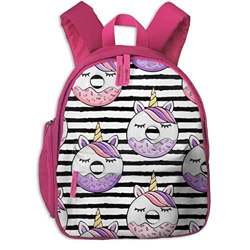 Zaino per bambini 2 anni,Ciambelle all'unicorno (rosa e viola) Strisce nere_2589 - littlearrowdesign, Per le scuole per bambini Panno oxford (rosa)