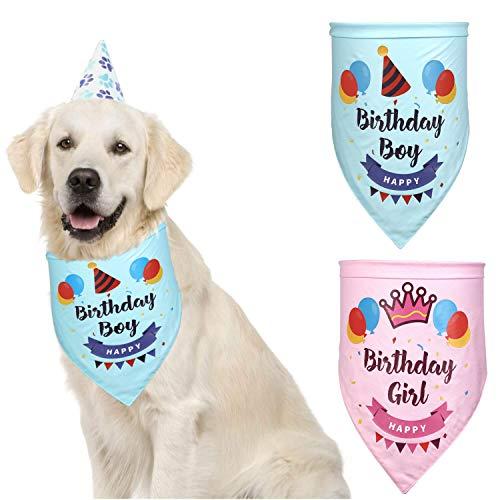 Hund Geburtstag Boy BandanaWaschbar Dreieck Lätzchen Schal großer Hund Geburtstag Outfitund Dekoration Set - perfekte Hund oder Welpe Geburtstagsgeschenk,Pink (Outfits Hunde Für Große)